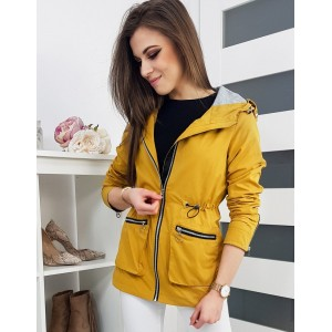 Žlutá dámská jarní bunda s kapucí a dvěma kapsami na zip