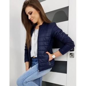 Tmavě modrá dámská přechodná bunda s elegantním prošíváním