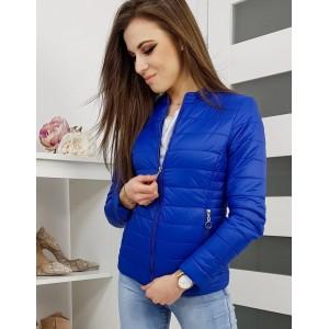 Stylová modrá prošívaná bunda na jaro bez kapuce