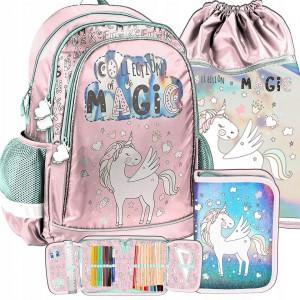 Růžová školní taška s motivem pegase