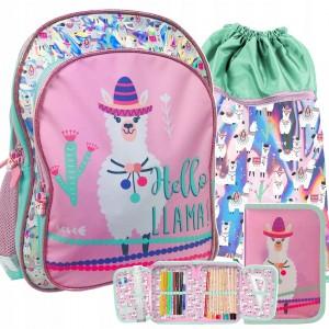 Veselá školní taška v růžové barvě s lamou
