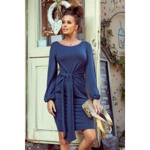 Originální dámské modré šaty s dlouhým rukávem a páskem