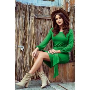 Stylové dámské zelené pohodlné šaty s širokým páskem