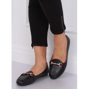 Elegantní dámské černé mokasíny s ozdobnou sponou