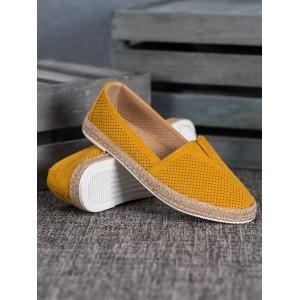 Stylové dámské žluté espadrilky s pletencový lemem