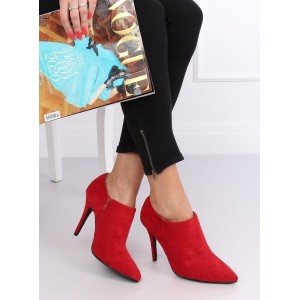 Červené dámské kotníkové boty na vysokém podpatku