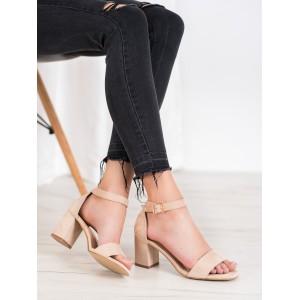 Lacné dámske letné sandále v béžovej farbe
