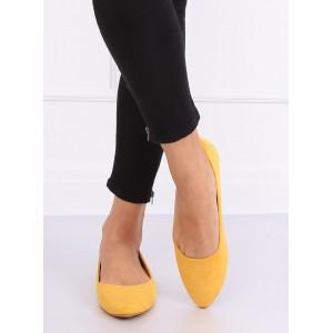 Trendy dámské jarní baleríny ve žluté barvě