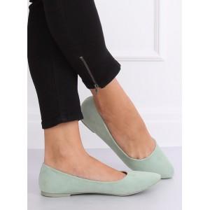 Dámské pastelově zelené semišové balerínky