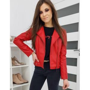 Stylová kožená bunda červené barvy se zapínáním na zip