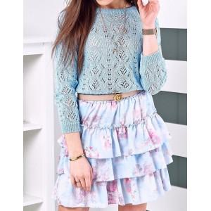 Modrá dámská nařasená sukně s motivem květů