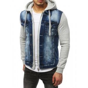 Stylová džínová bunda se zapínáním na zip a kapucí