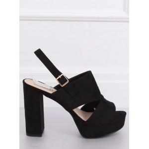 Semišové dámské vysoké sandály v černé barvě na léto