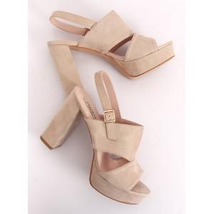 Vysoké sandály pro dámy na platformě v béžové barvě