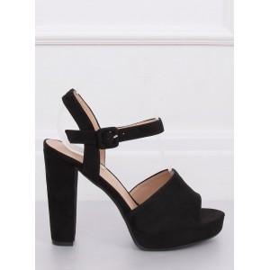 Semišové dámské letní sandály v černé barvě