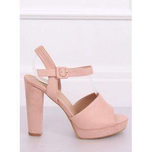 Vysoké dámské sandály na platformě v růžové barvě