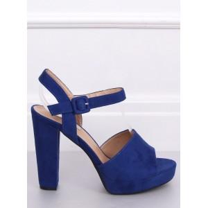 Vysoké dámské semišové sandály v modré barvě