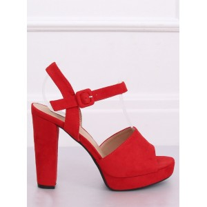 Dámské stylové sandály na platformě v červené barvě