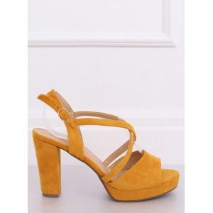 Žluté letní dámské sandály na platformě