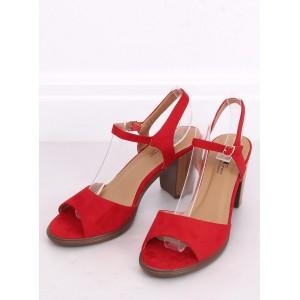 Semišové dámské sandály na léto v červené barvě