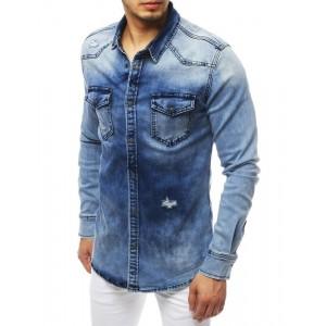 Trendová pánská riflová košile s dlouhým rukávem