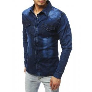 Tmavě modrá riflová košile střihu slim fit pro pány