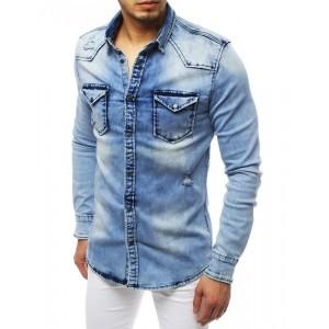 Stylová riflová košile s módními dírami v klasickém střihu