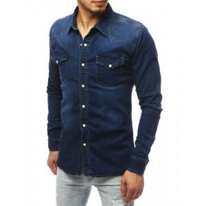 Pánská riflová košile s dlouhým rukávem a náprsními kapsami
