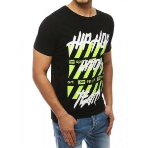 Pánské černé tričko s kulatým výstřihem