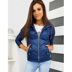 Modrá dámská prošívaná přechodná bunda s kapucí