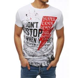 Pánské triko v bílé barvě s potiskem