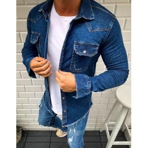 Stylová pánská riflová košile s dlouhým rukávem