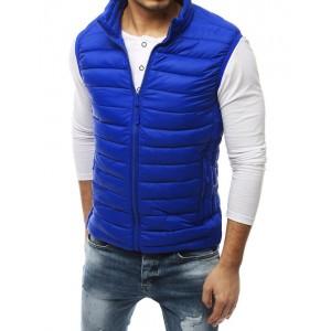 Pánská stylová modrá vesta bez kapuce
