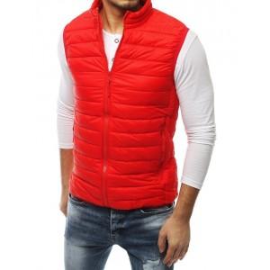 Pánská prošívaná vesta bez kapuce červená