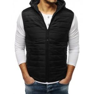 Pánská prošívaná vesta v černé barvě