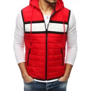 Moderní pánská vesta s kapucí v červené barvě