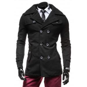 Elegantní černý pánský kabát