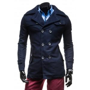Elegantní modrý pánský kabát
