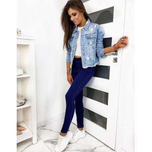 Modré pohodlné dámské kalhoty z elastického materiálu
