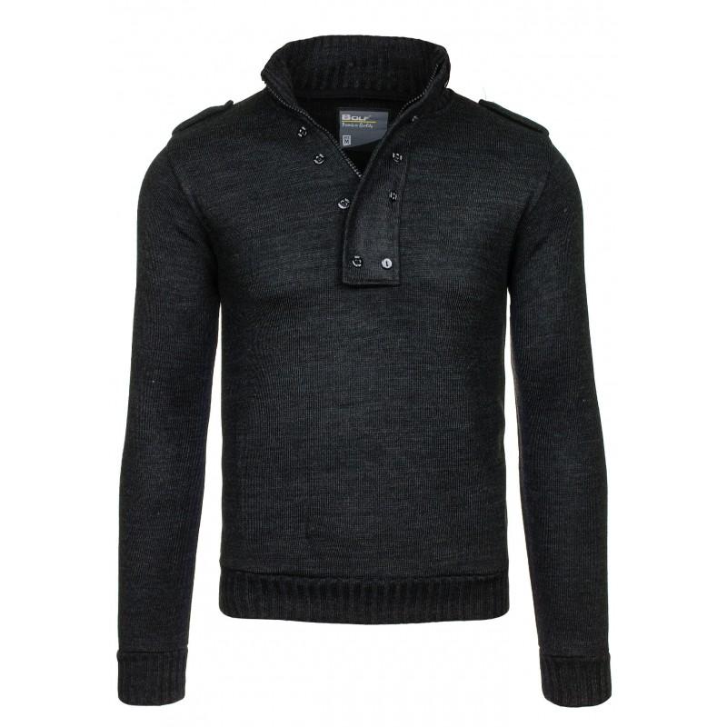 Pánský šedý svetr na zip s knoflíky 33ad424508
