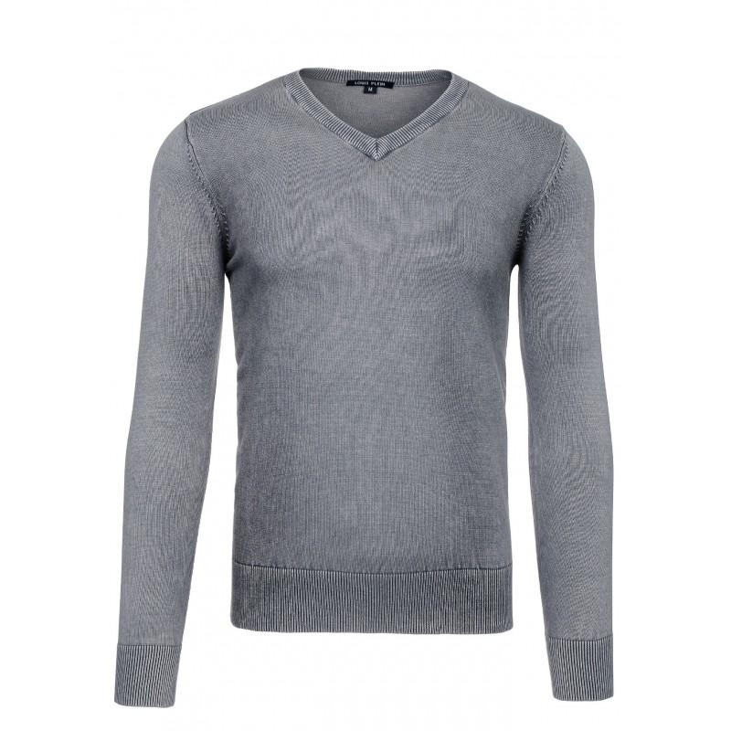 Pánský šedý svetr s výstřihem V ae8b6016c5
