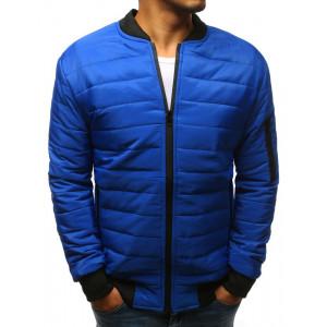 Trendy pánská prošívaná modrá bunda s černým lemem