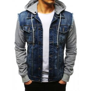 Pánská modrá riflová bunda s kapucí a rukávy z teplákoviny