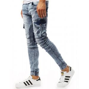 Riflové pánské kalhoty v modré barvě s kapsami