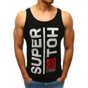Černé pánské tílko pro pány s nápisem SUPER HOT