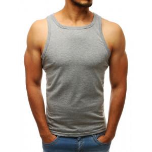Šedé pánské jednobarevné triko bez rukávů