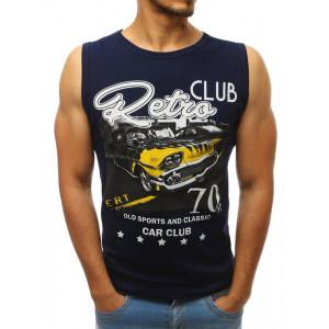 Modré pánské tričko bez rukávů pro milovníky aut