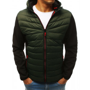 Moderní pánská zelená přechodná bunda s kapucí