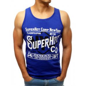 Modré pánské tričko bez rukávů s potiskem