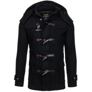 Pánský černý zimní kabát s kapucí a kapsami